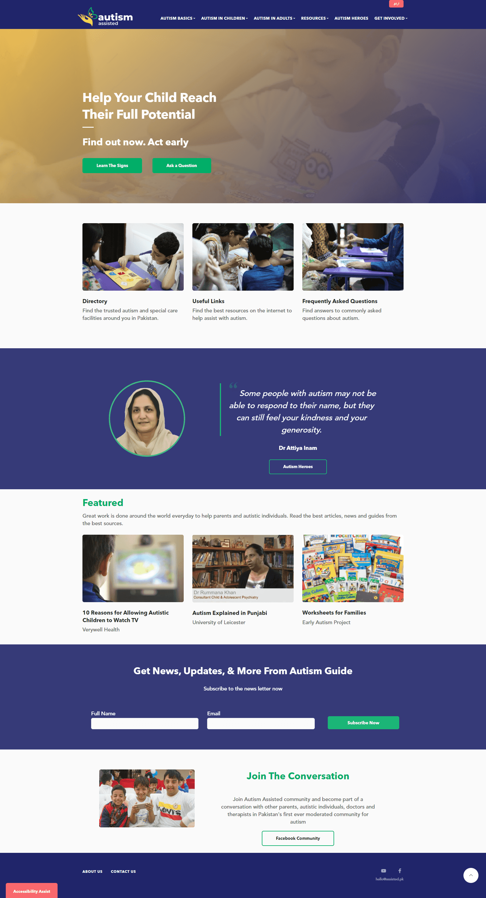 Autism Assisted Pakistan Landing Page