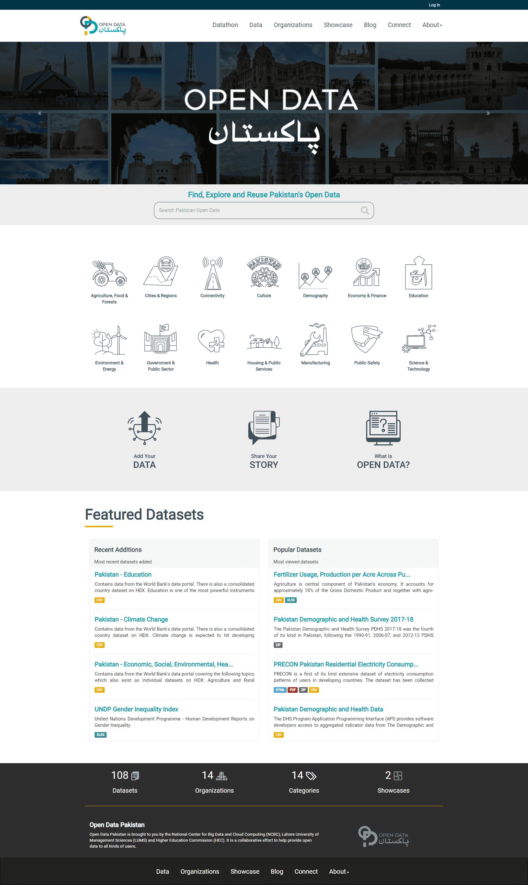 Open Data Pakistan Landing Page